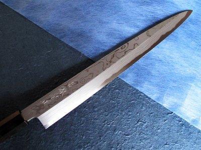 Photo3: [MINAMOTO-IZUMIMASA] Yanagiba hocho 330mm Blue paper 16 layer