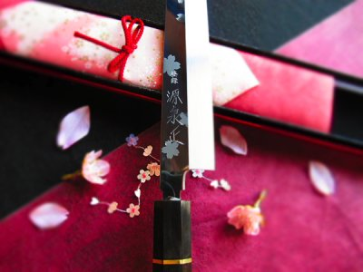 Photo3: [MINAMOTO-IZUMIMASA] Yanagiba hocho 270mm Mirror and Cherry