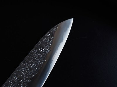 Photo3: [KISUKE] WA-Gyuto (chef's knife about 190mm brade, ATS-34 stainless / stainless Warikomi, Red sandalwood Handle)