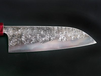 Photo1: [KISUKE] Santoku (chef's knife about 165mm brade, ATS-34 stainless / stainless Warikomi, Red sandalwood Handle)