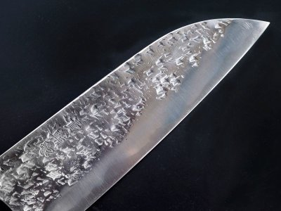 Photo3: [KISUKE] Santoku (chef's knife about 165mm brade, ATS-34 stainless / stainless Warikomi, Red sandalwood Handle)