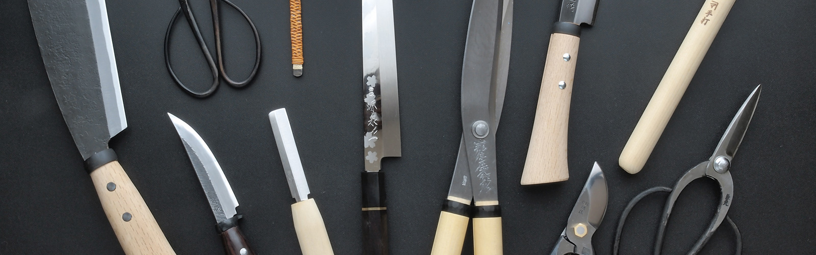 Japanese kitchen knives and pruner, secateurs, edged tools Blacksmith's items.