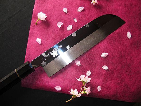 Photo1: [MINAMOTO-IZUMIMASA] Kamagata Usuba hocho 210mm Mirror and Cherry (1)