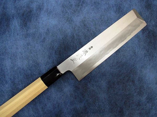 Photo1: [MINAMOTO-IZUMIMASA] Azumagata Usuba hocho 195mm Blue paper foged  (1)