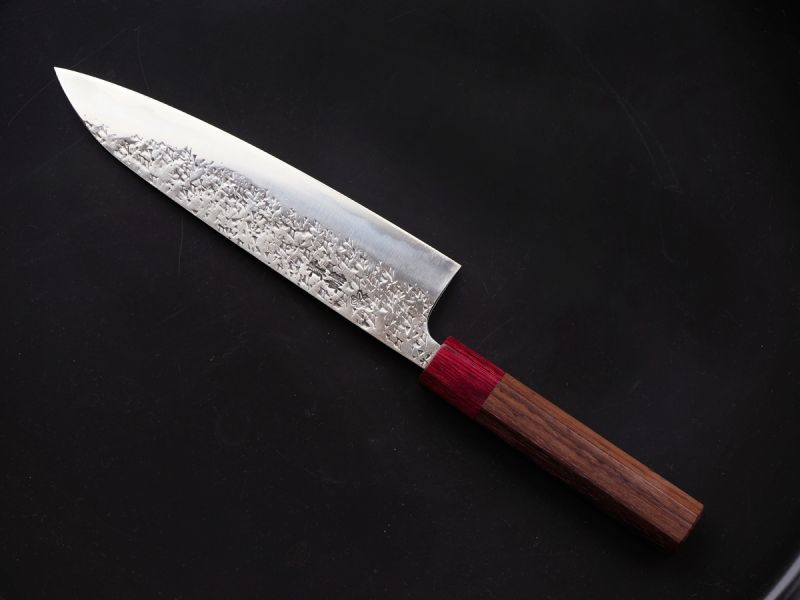Photo1: [KISUKE] WA-Gyuto (chef's knife about 190mm brade, ATS-34 stainless / stainless Warikomi, Red sandalwood Handle) (1)